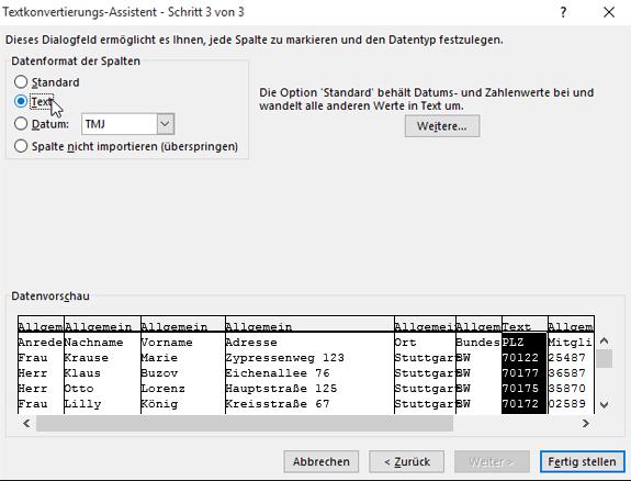 """Die Option """"Text"""" für das Spaltendatenformat ist im Textkonvertierungs-Assistenten hervorgehoben."""