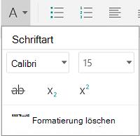 """Menü """"Schriftartformatierung"""""""