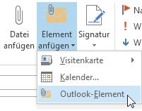 Befehl 'Outlook-Element' im Menüband