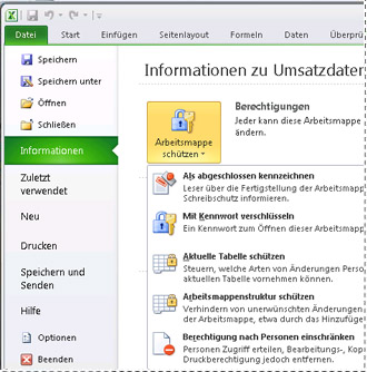 Registerkarte 'Informationen' in der Backstage-Ansicht