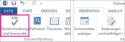 Der Befehl 'Rechtschreibung und Grammatik prüfen'