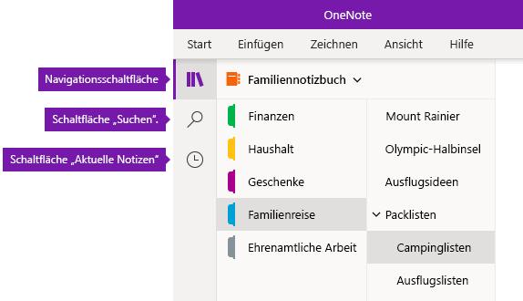 Navigationsleiste in OneNote für Windows 10