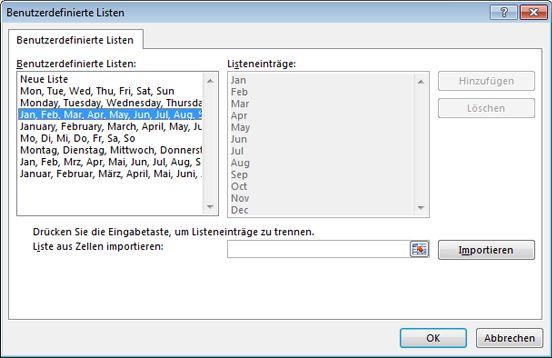 Dialogfeld 'Benutzerdefinierter Listen'