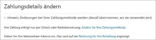 """Screenshot des Bereichs """"Zahlungsdetails ändern"""" für ein Abonnement, das aktuell per Rechnung bezahlt wird."""