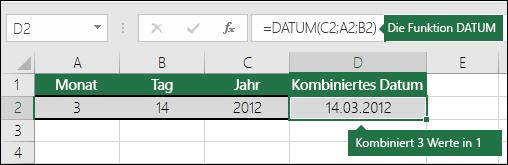 DATUM-Funktion, Beispiel 2