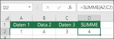 Richtiger Formelaufbau.  Anstelle von =A2+B2+C2 lautet die Formel in Zelle D2 =SUMME(A2:C2).