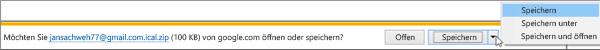 Wählen Sie einen Speicherort für Ihren exportierten Google Kalender aus.