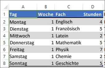 Tabelle mit Farbe, die auf alternative Zeilen angewendet wurde
