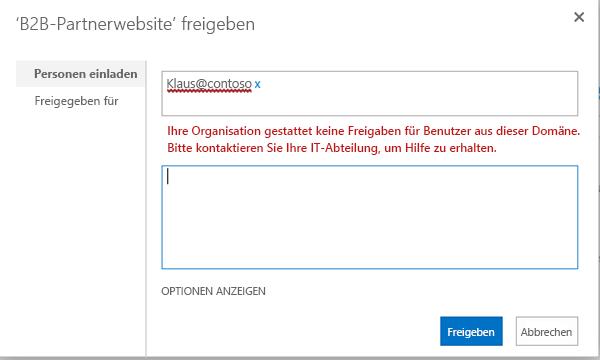 Beispiel für den Versuch, einen Benutzer einzuladen, der aufgrund der eingeschränkten Freigabe nicht zulässig ist.