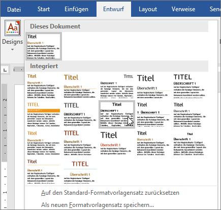 Designs und Formatvorlagen in Word