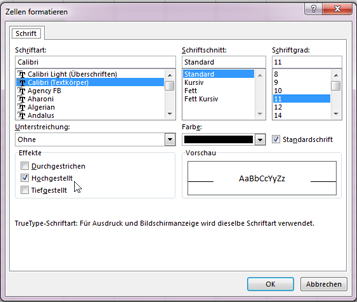 Formatierungsdialogfeld mit aktivierter Option 'Hochgestellt'