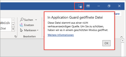 Zeigt den Application Guard an