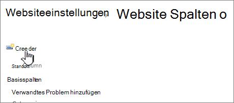 """Schaltfläche """"Erstellen"""" auf der Seite """"Websitespalten"""""""
