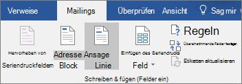 Wählen Sie als Teil des Word-Seriendruck auf der Registerkarte Sendungen in der Gruppe Felder schreiben und Einfügen aus Grußzeile.