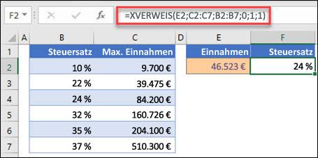 Abbildung der XVERWEIS-Funktion, die verwendet wird, um nach einem Steuersatz auf der Grundlage des höchsten Einkommens zu suchen. Dies ist eine ungefähre Übereinstimmung. Die Formel lautet: =XVERWEIS(E2;C2:C7;B2:B7;1;1)