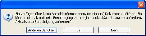 Dialogfeld in Word, in dem angezeigt wird, dass ein Dokument mit Zugriffseinschränkung an eine nicht autorisierte Person weitergeleitet wurde