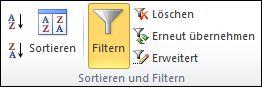 """Befehl """"Filtern"""" auf der Registerkarte """"Daten"""" in der Gruppe """"Sortieren und filtern"""""""