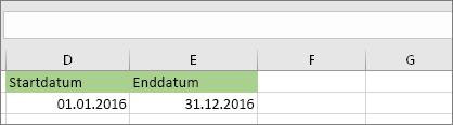 Start Datum in Zelle D53 ist 1/1/2016, Enddatum ist in Zelle E53 ist 12/31/2016