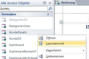 Öffnen eines Webformulars oder -berichts in der Layoutansicht