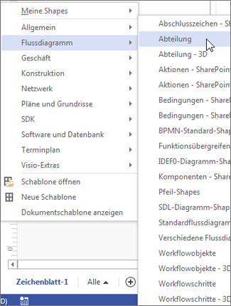 "Liste ""Weitere Shapes"" in Visio"