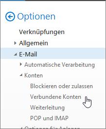 """Screenshot des Menüs der E-Mail-Optionen, in dem unter """"Konten"""" auf """"Verbundene Konten"""" gezeigt wird"""