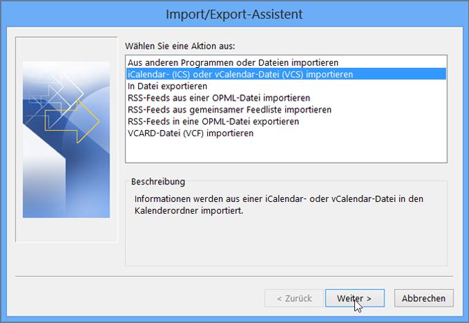 "Wählen Sie ""iCalendar- (ICS) oder vCalendar-Datei (VCS) importieren"" aus."