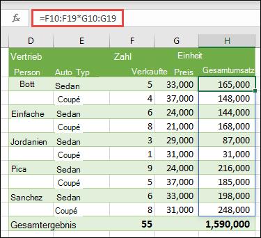 Multi-Cell-Array-Funktion in Zelle H10 = F10: F19 * G10: G19, um die Anzahl der Autos zu berechnen, die nach Einzelpreis verkauft werden