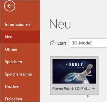 """3D-Modellvorlage unter """"Datei"""" > """"Neu"""""""