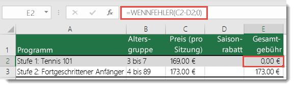 """Verwenden von WENNFEHLER(), um alle Fehler zu unterdrücken – die Formel in Zelle E2 lautet """"=WENNFEHLER(C2-D2;0)"""""""