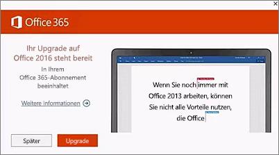 Screenshot der Benachrichtigung zum Upgrade auf Office 2016