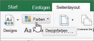 Schaltfläche ' Design Farben ' auf der Registerkarte layout