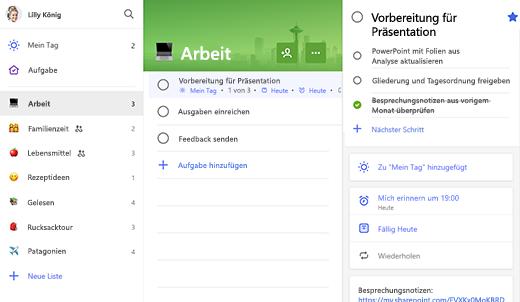 """Screenshot der Arbeitsliste mit dem Eintrag """"Prep for presentation"""" in der Detailansicht"""