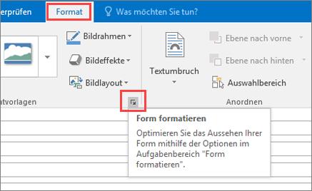 """Bildschirmausschnitt der Outlook-Benutzeroberfläche mit der Registerkarte """"Format"""" und ausgewählter Option """"Form formatieren"""""""