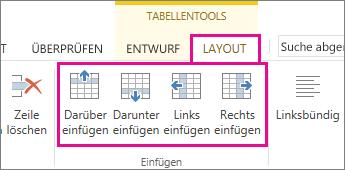 Abbildung der Layoutoptionen für das Hinzufügen von Zeilen und Spalten in Tabellen