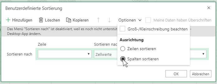 """Auswählen der Option """"Sortieren von links nach rechts"""" im Dialogfeld """"Benutzerdefiniertes Sortieren"""""""