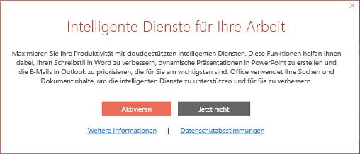 """Dialogfeld """"Aktivieren"""" für die Office Intelligence-Dienste"""
