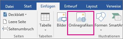 """Auf der Registerkarte """"Einfügen"""" ist das Symbol """"Onlinebilder"""" hervorgehoben."""