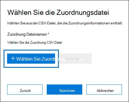 Klicken Sie auf Select Zuordnungsdatei, um die CSV-Datei, die Sie erstellt haben, und für den Importvorgang zu übermitteln