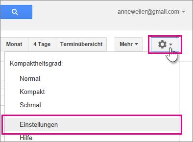 Google Calendar - Einstellungen - Einstellungen