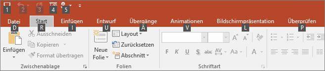 Zugriffstasteninfos im PowerPoint-Menüband