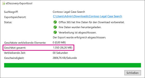 Geschätzte Ergebnisse im eDiscovery-Exporttool