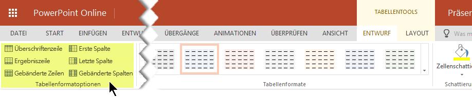Sie können die Schattierung Formatvorlagen auf bestimmte Zeilen oder Spalten in einer Tabelle hinzufügen.