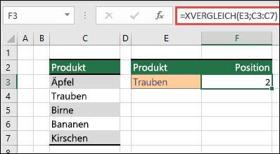 Beispiel für die Verwendung von XVERGLEICH zum Suchen der Position eines Elements in einer Liste.
