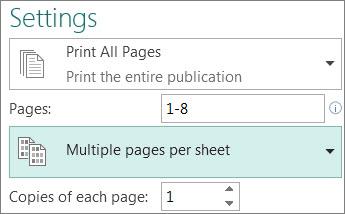Festlegen, dass mehrere Kopien einer Publikation auf jedes Blatt gedruckt werden sollen