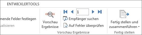 """Screenshot der Registerkarte """"Sendungen"""" in Word mit der Gruppe """"Vorschau Ergebnisse"""""""