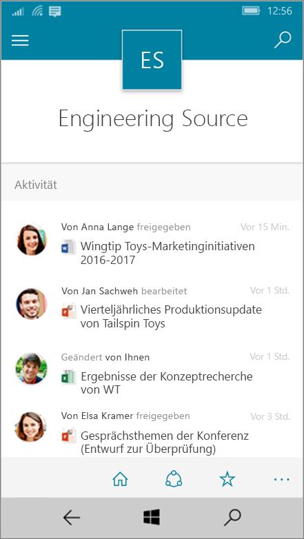 Windows 10 Mobile-Ansicht mit Aktivitäten, Dateien, Listen und Navigationsmöglichkeiten