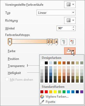 Ändern der Farbe jedes Farbverlaufstopps