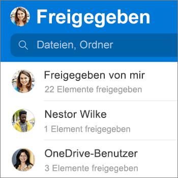 """Ansicht """"Freigegebene Dateien"""" in der OneDrive-App für Android"""