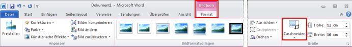Befehl 'Zuschneiden' unter 'Bildtools' auf der Registerkarte 'Format'
