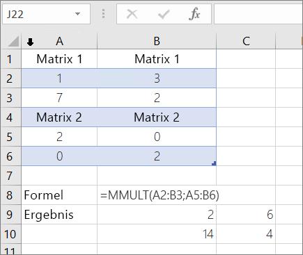 MMULT-Funktion – Beispiel 1